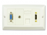 HDMI and Computer Wall Plate - HDMI CAT5e VGA and 3.5mm Jack Faceplate - Easy Connect